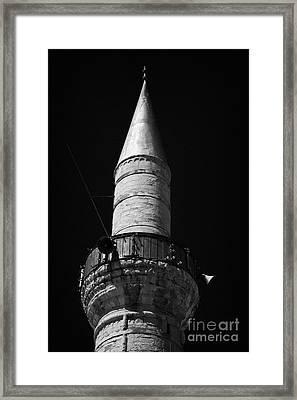 minaret of the grand mosque of djami kebir camil Limassol lemesos republic of cyprus europe Framed Print