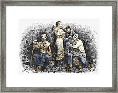 Miners And Their Wives, 19th Century Framed Print by Sheila Terry