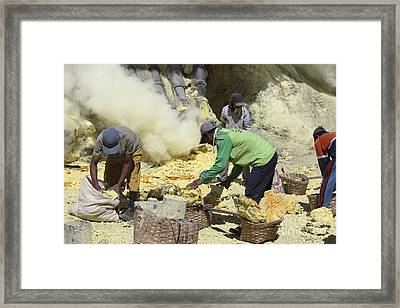 Miners Collecting Lumps Of Sulphur Framed Print by Richard Roscoe