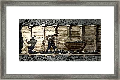 Miners In A Timbered Tunnel Framed Print by Sheila Terry