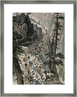 Miners On Corduroy Road.  Prospectors Traveling On Their Way To A New Strike Over A Corduroy Road Through A Colorado Mountain Pass. American Engraving, 1879 Framed Print by Granger