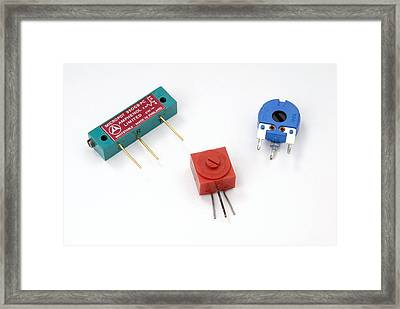 Mini Pcb Potentiometers Framed Print by Trevor Clifford Photography