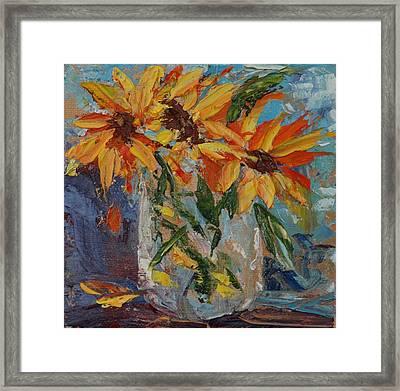 Mini Sunflowers In A Mason Jar Framed Print