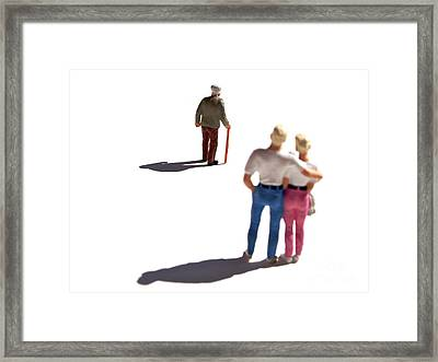 Miniature Figurines Couple Watching Elderly Man Framed Print