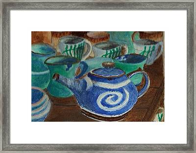 Framed Print featuring the painting Miniature Teapots And Cups by Christy Saunders Church