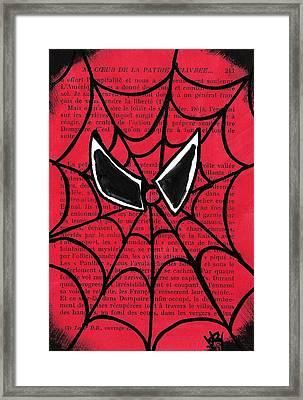 Minimal Spiderman Framed Print by Jera Sky