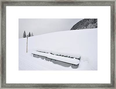 Minimalist Winter Landscape With Lots Of Snow Framed Print by Matthias Hauser