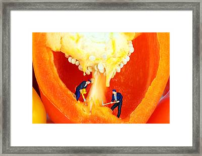 Mining In Colorful Peppers II Framed Print by Paul Ge