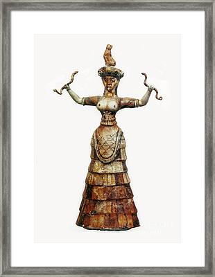 Minoan Snake Goddess Framed Print by Photo Researchers