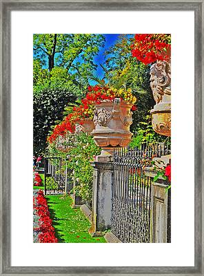 Mirabell Gardens In Salzburg Hdr Framed Print by Mary Machare