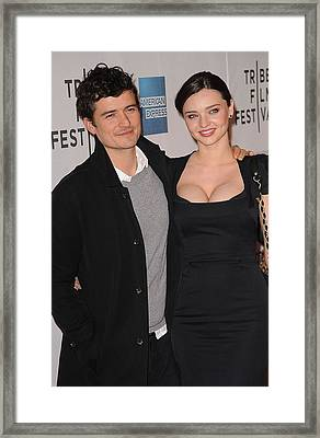 Miranda Kerr, Orlando Bloom At Arrivals Framed Print by Everett
