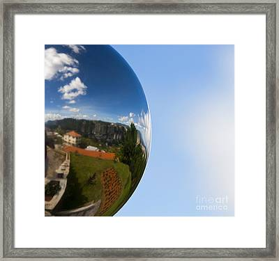 Mirrored Ball With Reflection Of Landscape Framed Print by David Buffington