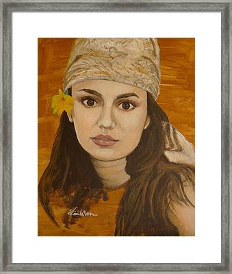 Miss Autumn Marigold Framed Print by Veronica Coulston