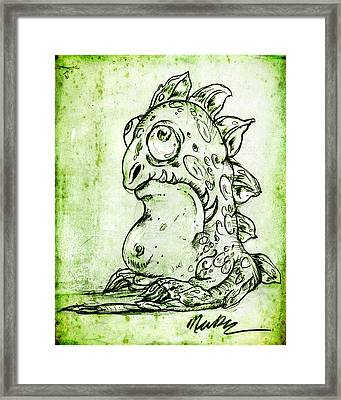 Framed Print featuring the drawing Miss You Monster by Nada Meeks