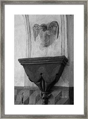 Mission San Xavier Del Bac - Angel Gargoyle In Black And White Framed Print by Suzanne Gaff
