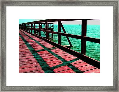 Mississippi  Pier - Ver. 6 Framed Print by William Meemken