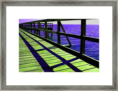 Mississippi  Pier - Ver. 7 Framed Print by William Meemken
