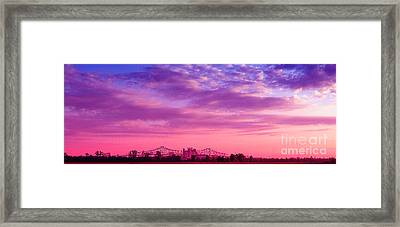 Mississippi River Bridge At Twilight Framed Print