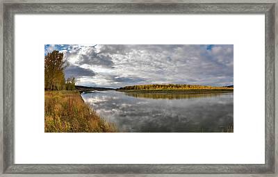 Missouri River Autumn Panoramic Framed Print by Leland D Howard