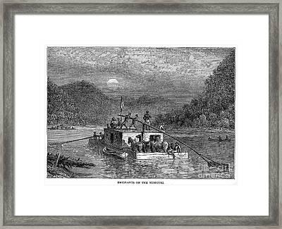 Missouri River: Flatboat Framed Print by Granger