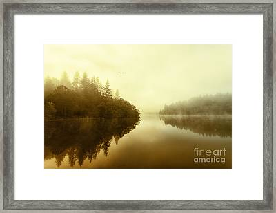 Mist Across The Water Loch Ard Framed Print by John Farnan