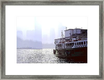 Mist Over Victoria Harbour Framed Print by Enrique Rueda