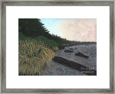 Misty Beach Framed Print by Ginny Neece