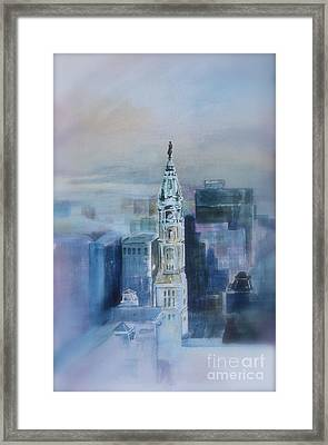 Misty Day At Philadelphia City Hall Framed Print by Peg Ott Mcguckin