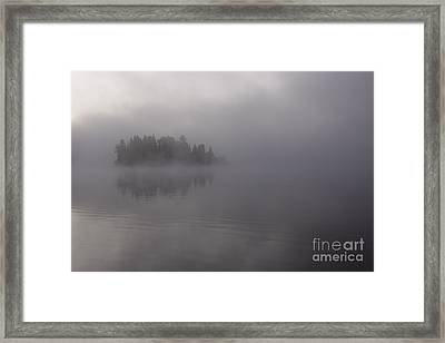 Misty Evergreen Island Framed Print by Chris Hill