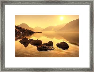 Misty Lake Framed Print by Svetlana Sewell