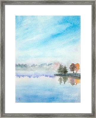 Misty Lake Framed Print
