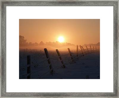 Misty Sunset Framed Print by Cat Shatwell