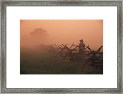 Misty View Of The Civil War Battlefield Framed Print by Richard Nowitz