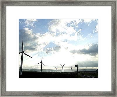Misty Windmills Framed Print by Rusty Woodward Gladdish