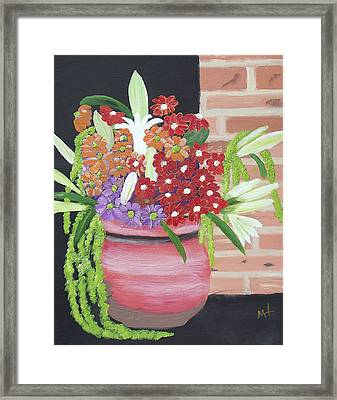 Framed Print featuring the painting Mixed Flowers In Orange Crock by Margaret Harmon