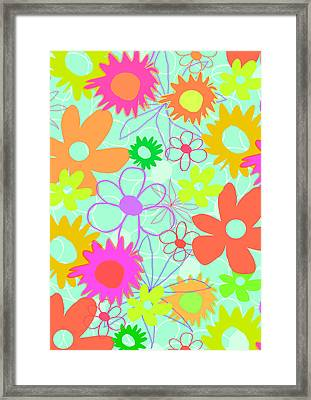 Mixed Flowers Framed Print by Louisa Knight