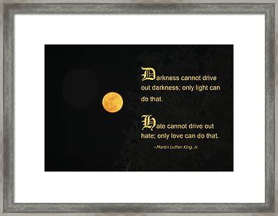 Mlk And A Yellow Moon Framed Print by Andrea  OConnell
