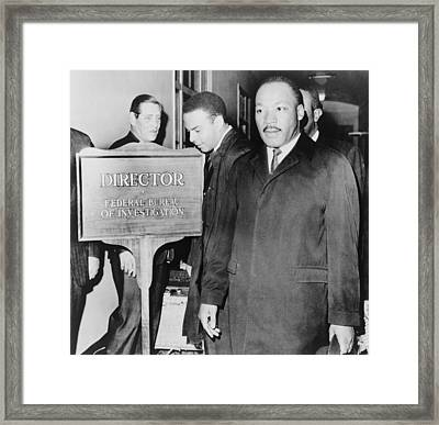 Mlk Enters The Fbi Building. Dr. Martin Framed Print by Everett