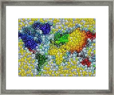 Mm Candy World Map Mosaic Framed Print