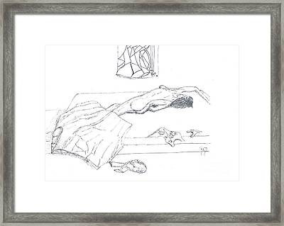Mmm...stretch... Sketch Framed Print by Robert Meszaros