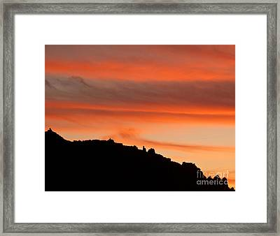Moab Rim Sunset Framed Print by Bob and Nancy Kendrick