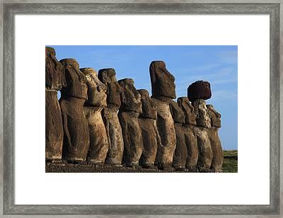 Moai Along The Coast Of Easter Island Framed Print by Stephen Alvarez
