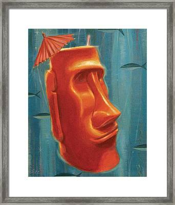 Moai Mai Tai Framed Print by Shawn Shea