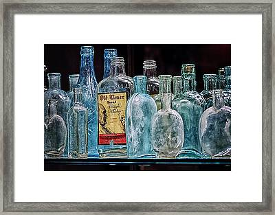 Mob Museum Whiskey Bottles Framed Print by Sandra Welpman