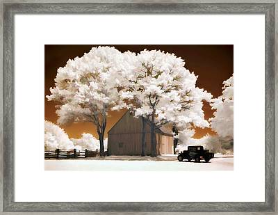 Model A And Old Barn Framed Print by Steve Zimic