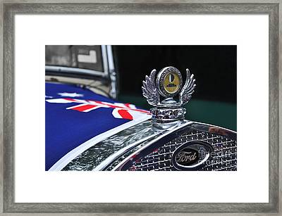 Model A Ford - Hood Ornament And Badge Framed Print by Kaye Menner