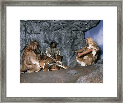 Model Of A Neanderthal Burial Scene Framed Print