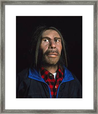 Model Of A Neanderthal Man In Modern Clothing Framed Print