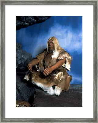 Model Of A Neanderthal Man Framed Print