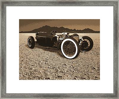 Model T On The Bonneville Salt Framed Print by Tim Woods